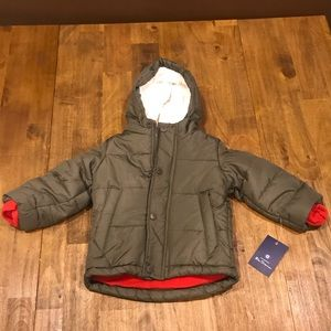 NWT Ben Sherman Olive 12m Fleece Lined Puffer Coat